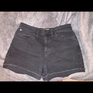 High rise denim shorts in lunar wash